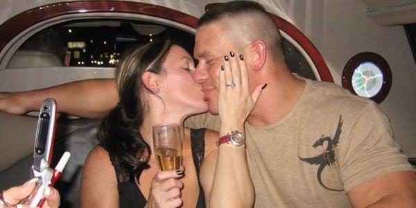 Elizabeth Huberdeau kissing John Cena