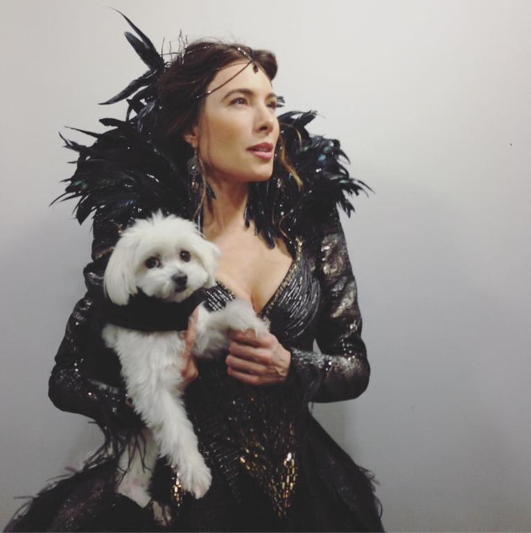 Jaime Murray with her dog