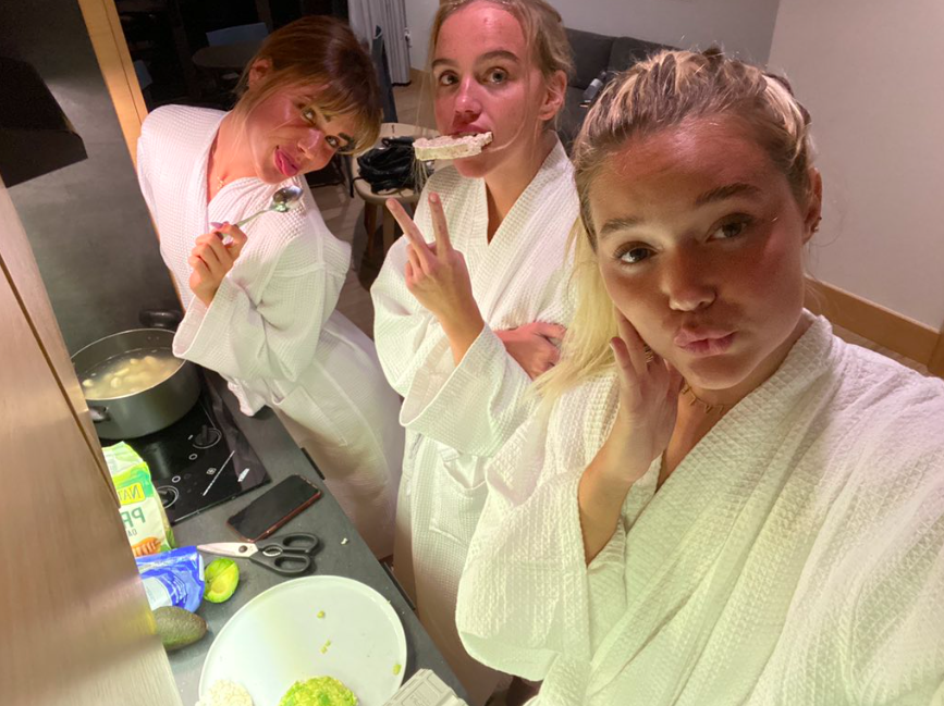 Olivia Ponton cooking with her friends